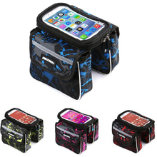 Bicycle Bag Cycling  Front Frame Bag Tube Pannier Double Pouch Touch Screen 6.2 inch Phone for Cellphone bike  Bag стоимость