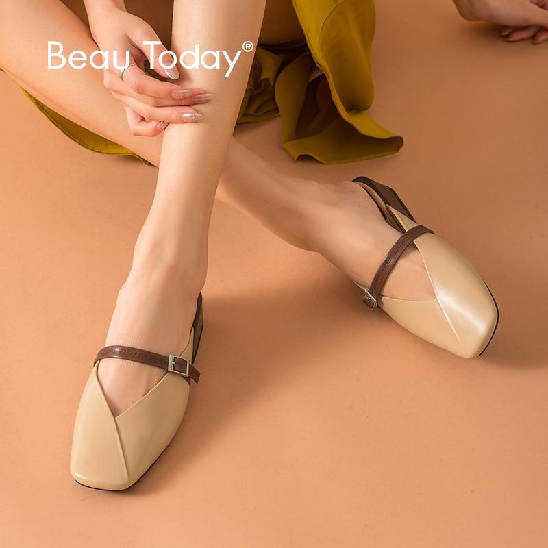 BeauToday Mules Women Calfskin Genuine Leather Square Toe Buckle Closure Open Heel Female Low Heel Shoes