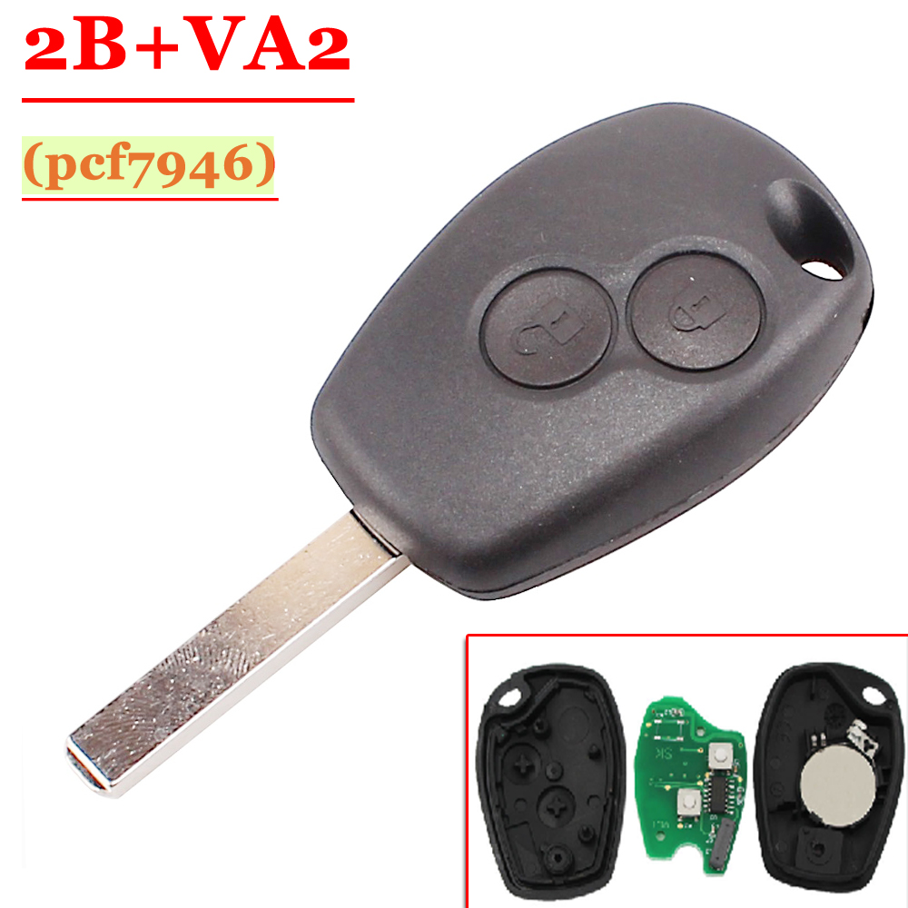 Free shipping 5 pcs Lot 2 Button PCF7946 Chip Remote Control With Va2 Blade For Renault