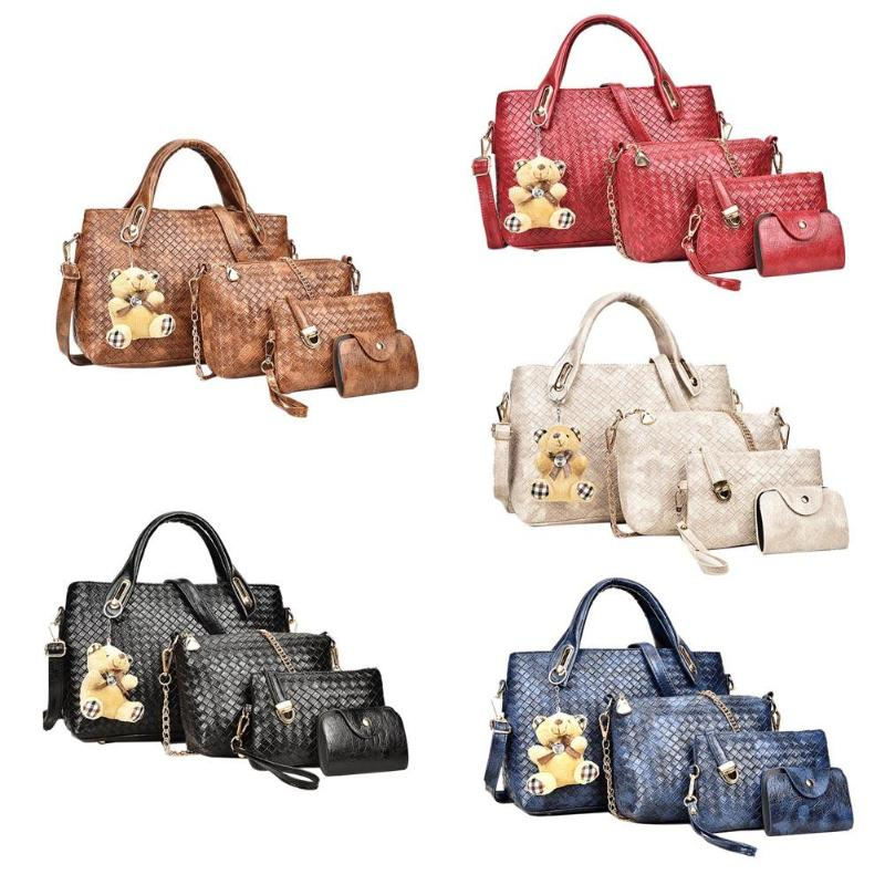 Fashion Women 4pcs Bag Set weave PU Soft Handbag Should Bag Tote Clutch Large Tote Female Shopping Bag square pu tote bag