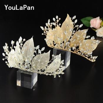 YouLaPan HP212 2 kolory tiara ślubna dla panny młodej ozdoba ślubna do włosów z kryształową ślubną biżuterią do włosów dla dziewczynek liść ze stopu tanie i dobre opinie Ze stopów żelaza Kobiety PLANT Czechy Hairwear Moda Metal Golden silver rhinestone 10*25CM 3 93*9 84IN Wedding hair crown