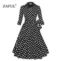 ZAFUL Women Spring Autumn Vintage Dress Plus Size S~4XL Belts Retro 60s Rockabilly Party Swing Cuff Sleeves Feminino Vestidos