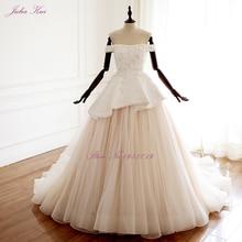 Julia Kui Vintage Tiered A Line Wedding Dress With Elegant Tulles Floor Length Of Lace Up vestido de noiva