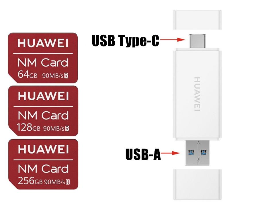 Huawei NM Card Original 90MB/s 64GB/128GB/256GB With USB 3.1 Nano Memory Card Reader