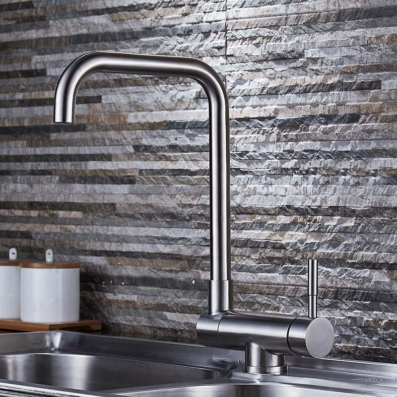 Stainless Steel Kitchen Faucet In Front Of Inward Opening Window Brush Polished Basin Sink Mixer Tap Swivel Spout Cold Hot taps kitchen faucets kitchen water tap stainless steel kitchen sink faucet single handle tall spout wash basin mixer taps xt 95