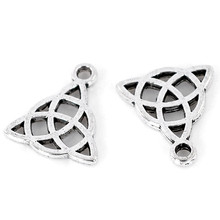 50Pcs Silver Tone Hollow Celtic Knot Pendants For Charms Bracelets Jewelry Diy Findings 15x17mm(5/8x5/8)