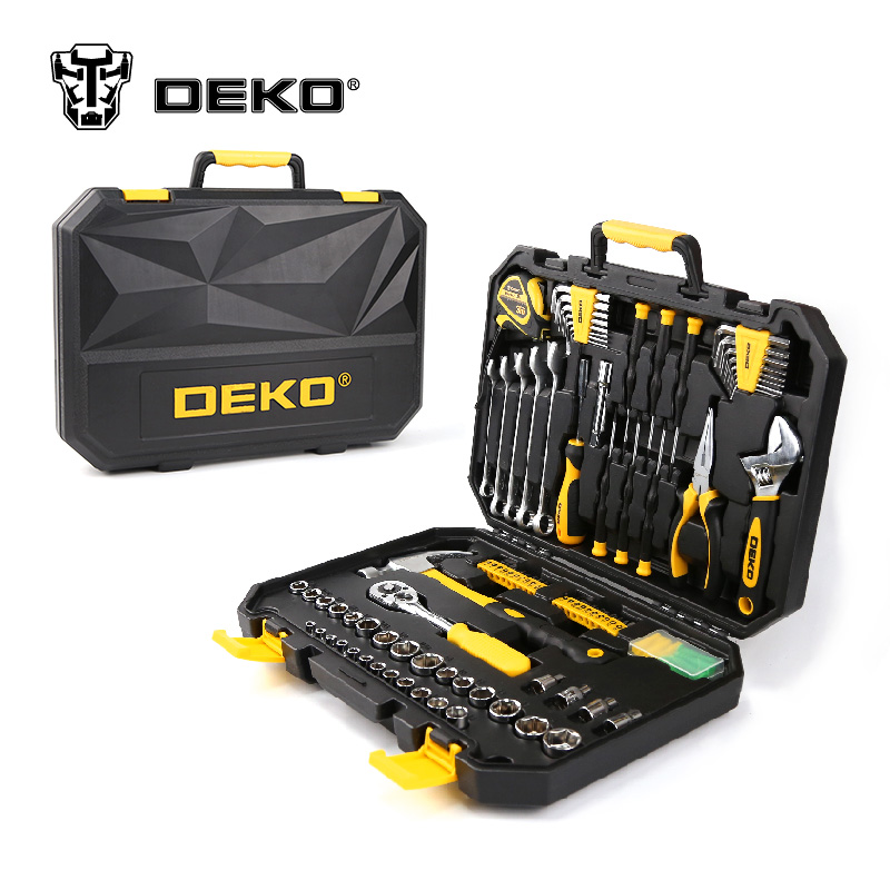 DEKOPRO 128 Pcs Hand Tool Set General Household Hand Tool Kit with Plastic Toolbox Storage Case Socket Wrench Screwdriver Knife 46pcs socket set 1 4 drive ratchet wrench spanner multifunctional combination household tool kit car repair tools set