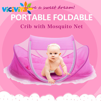 Foldable New Baby Crib 0-3 Years Baby Bed With Pillow Mat Set Portable Folding Crib With Netting Newborn Sleep Travel Bed Newest