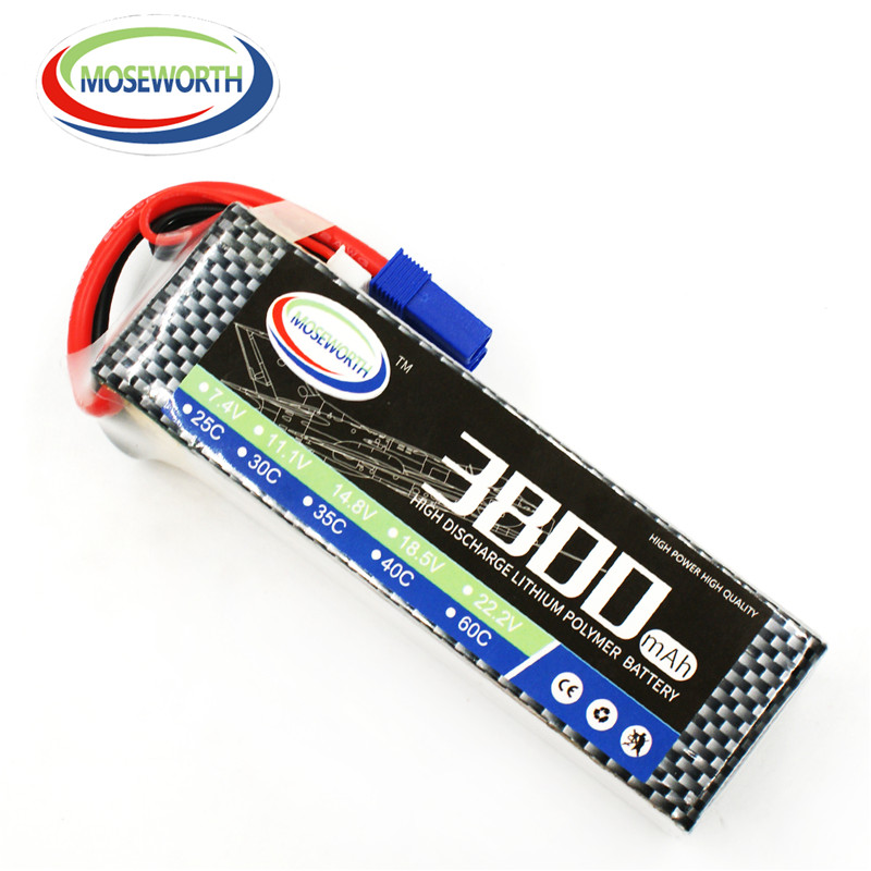 MOSEWORTH RC Airplan Lipo battery 11.1V 3S 3800mah 60C batteria for Quadcopter Helicopter RC Drone AKKU 1s 2s 3s 4s 5s 6s 7s 8s lipo battery balance connector for rc model battery esc