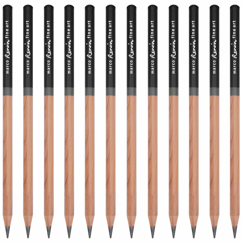 Marco Renoir Premium Professional Art Sketching ดินสอชุดกล่องเหล็กปลอดสารพิษ Pastel Drawing ดินสอ 3001-12 pcs /H/F/HB/B/2B/3B
