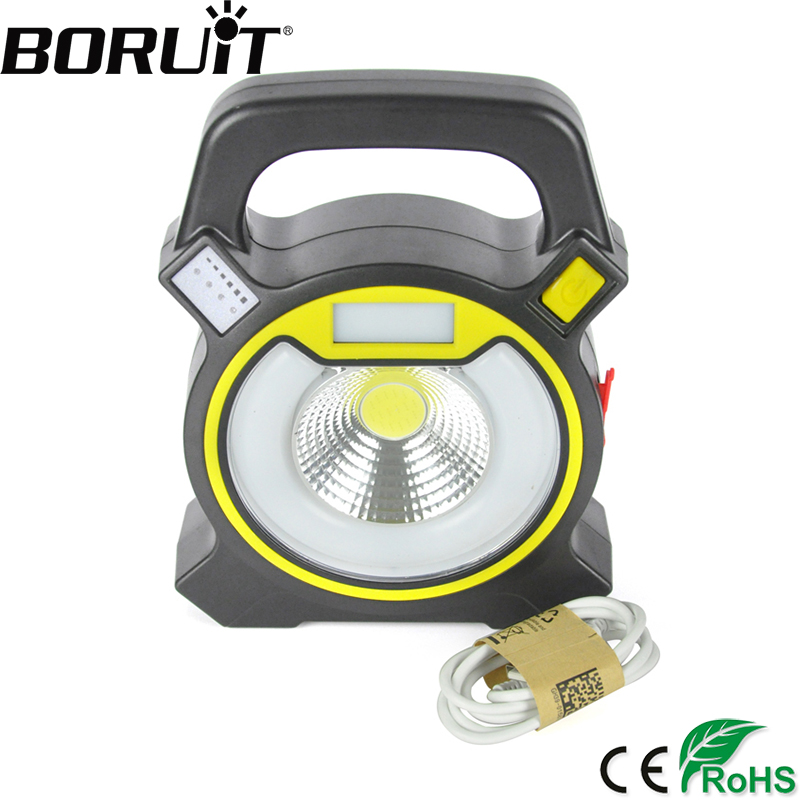 Boruit 15W COB LED Portable Floodlight Lantern Outdoor Waterproof 4-Mode Emergency Spotlight Lamp for Camping Hiking Tent Light ground lamp 50w l2 rechargeable led floodlight spotlight handle emergency flashlight mobile outdoor camping light hiking lamp