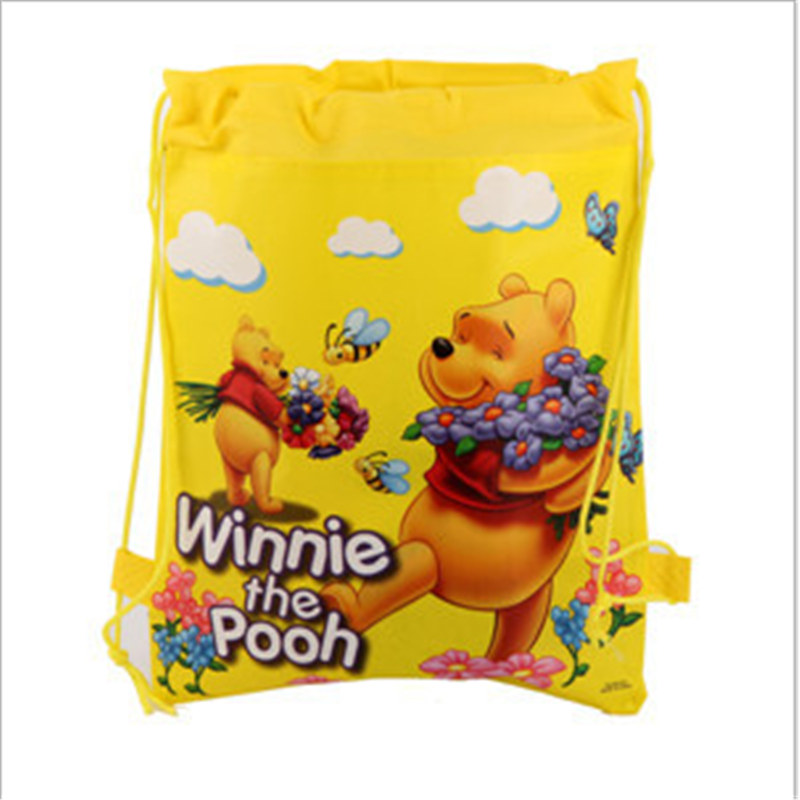 1PCS Winnie Pooh Decoration Birthday Party beautiful Non-Woven Fabric Drawstring lovely Gift Bags birthday Supplies for kids
