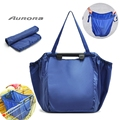 Large Capacity Foldable Trolley Supermarket Blue Shopping Bag Eco-friendly Reusable Folding Handle bags