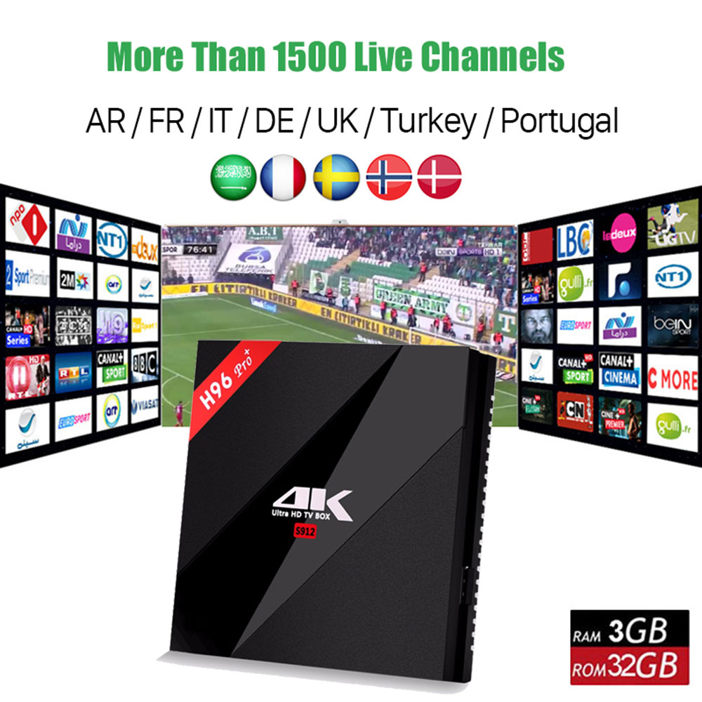 Best French Arabic Spain Turkish IPTV With H96 Pro+ Android 7.1 Smart Tv Box Amlogic S912 Octa core 3GB/32GB WIFI Set Top Box fm20 hanvon facial recognition algorithm embedded module with dual camera