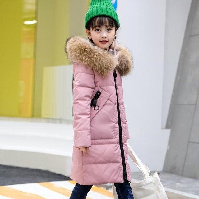 2018 adolescentes del niño Snowsuit invierno niñas pato abajo Chaquetas  niños abrigo caliente largo grueso caliente ebb26440f794f