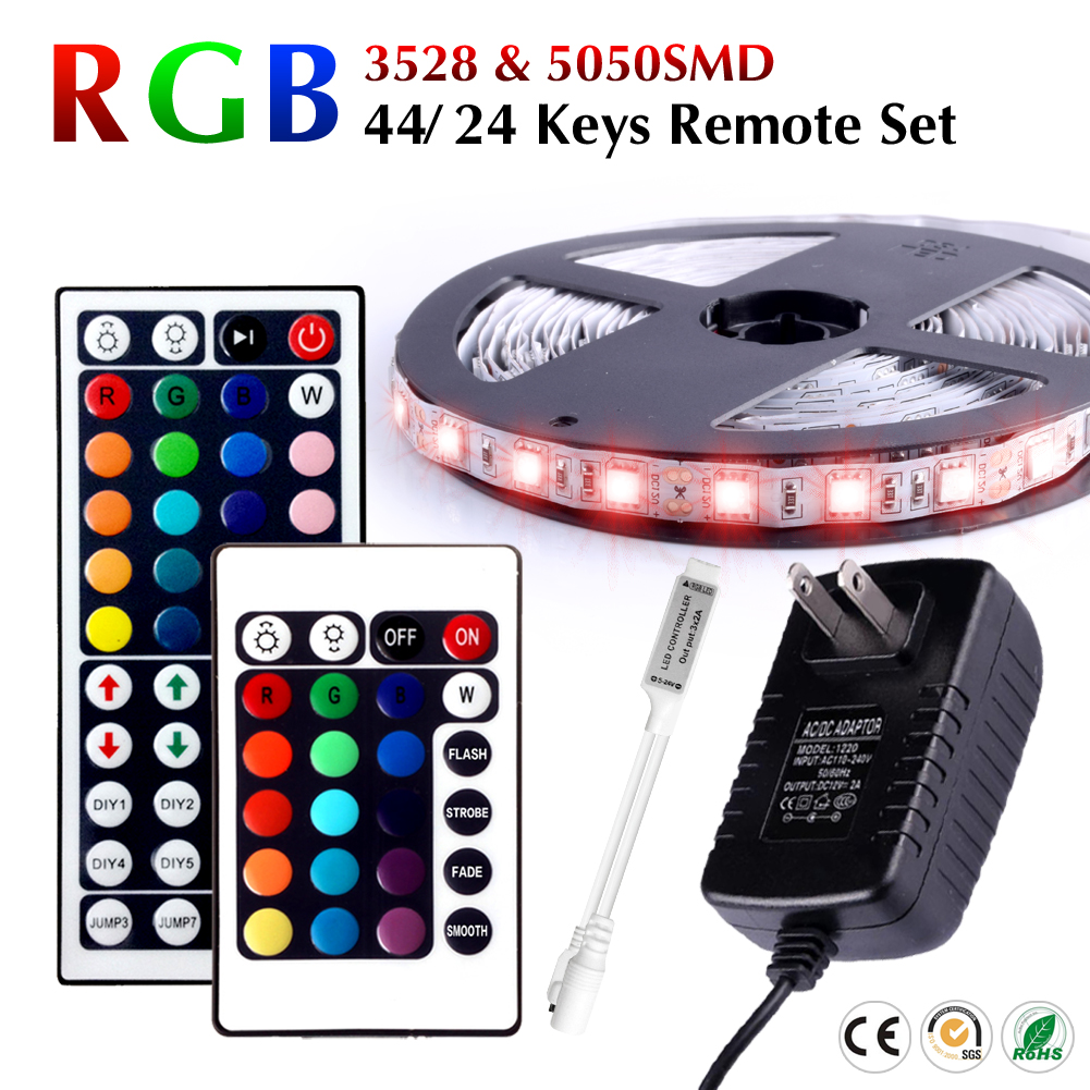 factory price rgb led strip light 3528 smd 5mflexible strip light set with 44 keys remote. Black Bedroom Furniture Sets. Home Design Ideas