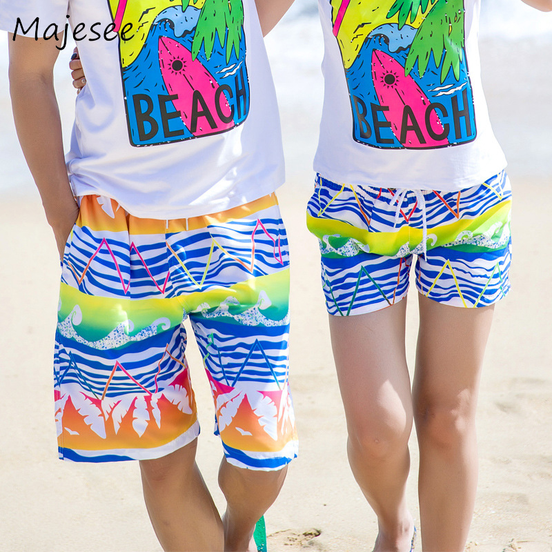 Men's Clothing Beach Men Board Short Mens Quick-dry Shorts Summer Male Striped Loose Breathable Colorful Fashion Korean Style Elastic Waist New