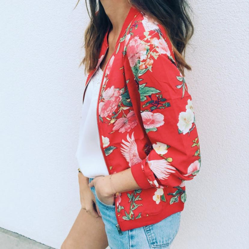 Outerwear & Coats Jackets Womens Ladies Retro Floral Zipper Up Bomber Outwear Casual coats and jackets women 18AUG10 11