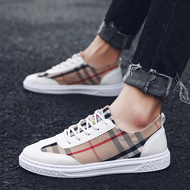 Plaid student shoes summer men's outdoor casual sports shoes vulcanized breathable canvas shoes fashionable shoes sneakers(China)