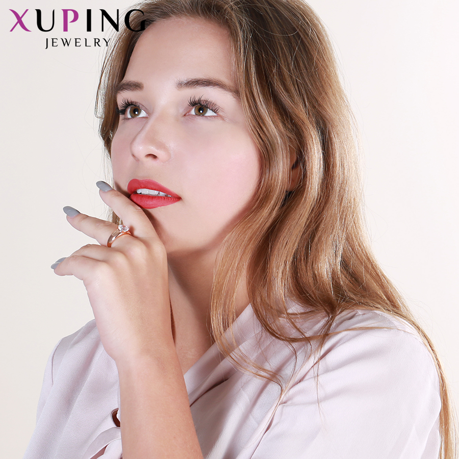 Xuping Fashion Jewelry Female Ring Unique Beautiful Rose Gold Color Plated Rings For Women Valentine 39 s Day Gifts 12838 in Engagement Rings from Jewelry amp Accessories