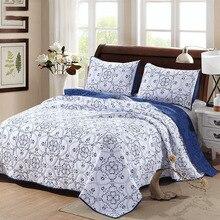 CHAUSUB качество одеяло с вышивкой набор 3 шт. хлопок одеяло s одеяло ed покрывало простыни наволочки King размер покрывало синий