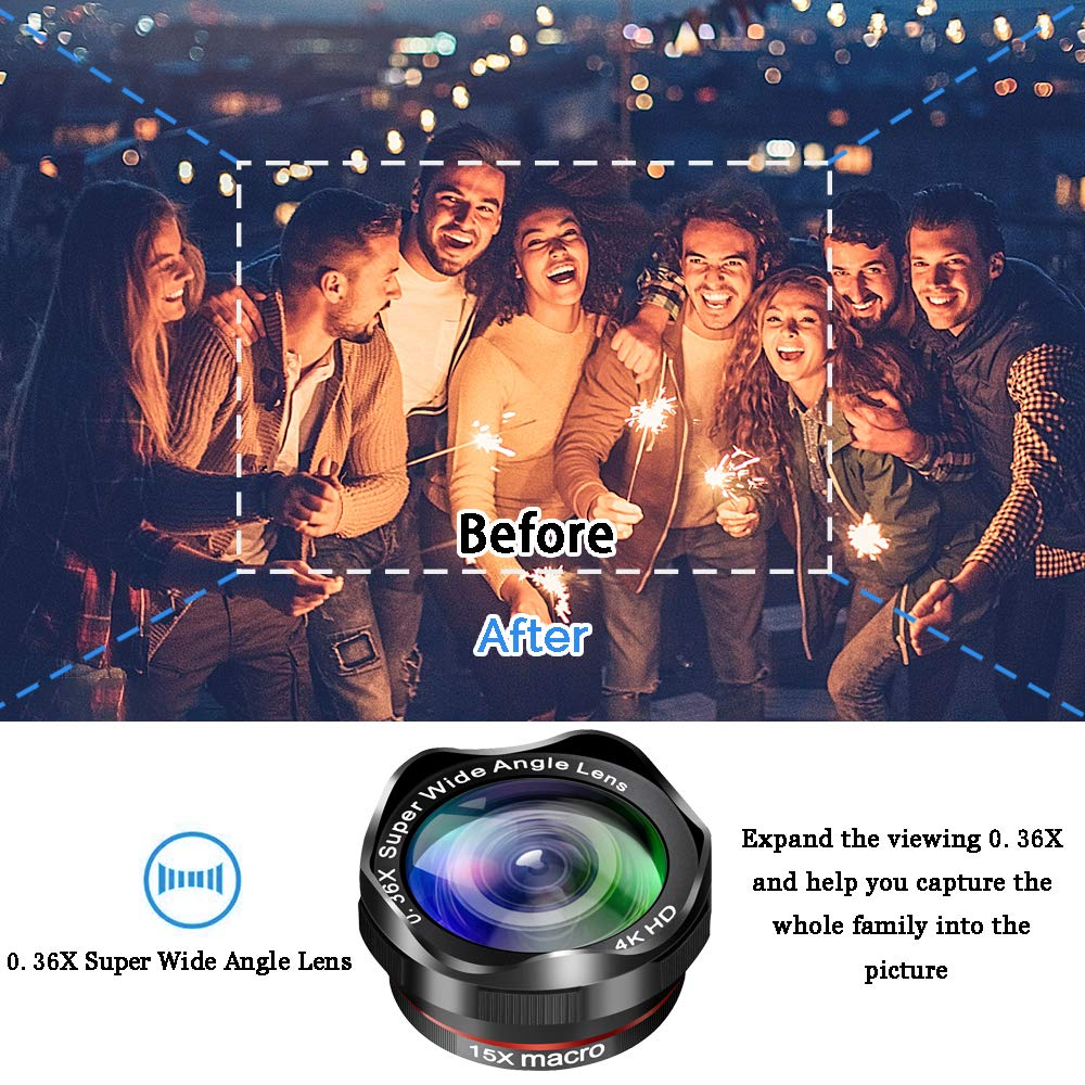 Fotos de la cámara del teléfono con lente DSLR: teleobjetivo con Zoom 12X + gran angular 0,36x + lente Super ojo de pez + lente Macro 15X (2 uds) para iphone Android - 5