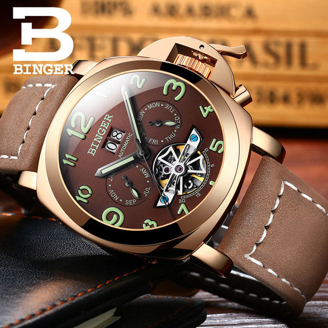 Original Luxury Brand BINGER Style PANERAI Skeleton Tourbillon Design Automatic Mechanical With Leather Band Strap 3