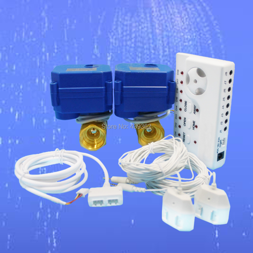 Automatic Freezer Water Leak Alarm Sensor with Two 1 Motorized Ball Valve and 8pcs 6m Sensor Cables, Retail or Wholesale