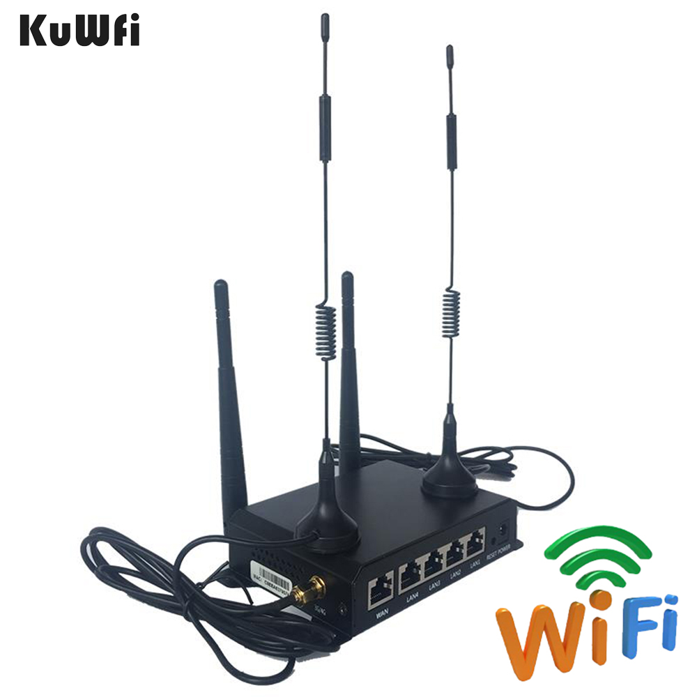 KuWFi OpenWRT 300Mbps Industrial CarWiFi Wireless Router 4G LTE Wifi Router Extender Strong Signal Suport 28users 300mbps wireless wifi router openwrt router english firmware router to produce wifi strong signal with usb port 4 5 dbi antenna