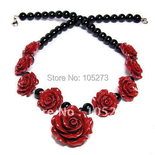Romantic Red Roses Black Onyx Handmade Jewellery