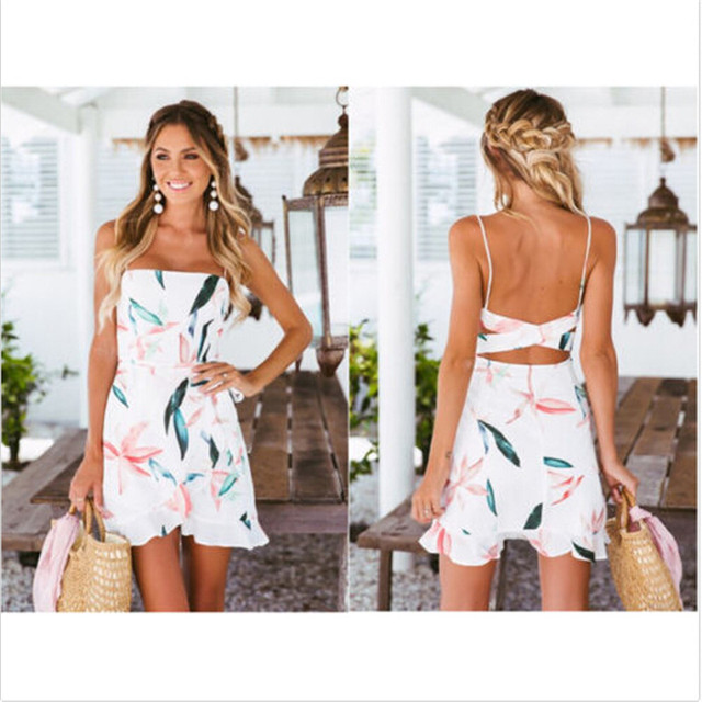 ace43bafc8e New2018 summertime relaxation women s wear sleeveless gallus dress boob  tube top printing minidress