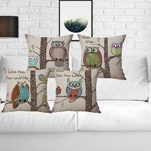 Beautyhouse wholesale wedding gift pillow cover London retro owl branch decorative cushion car home sofa party case