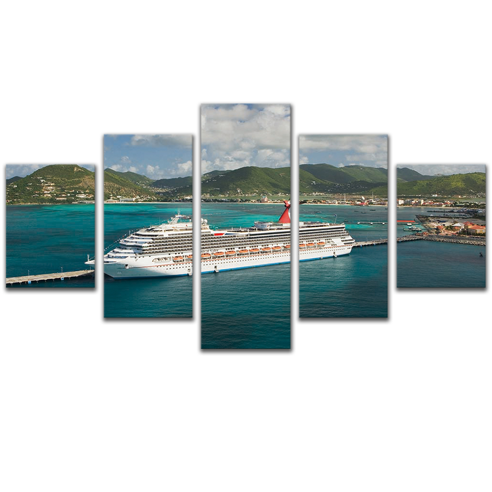 Unframed 5 HD Canvas Prints Cruise Ship Giclee Modular Picture Prints Wall Pictures For Living Room Wall Art Decoration