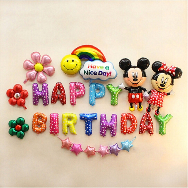 Kids Birthday Party Decoration Red Pink Blue Mickey Minnie Foil Balloon Kit Idea Mouse 1st