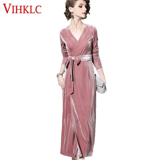 507e4f8de8 2018 New Fashion Spring Pink Velvet Dress Women Long Sleeve Deep V-Neck  Split Long Maxi Dresses Elegant Party Female Robe B88