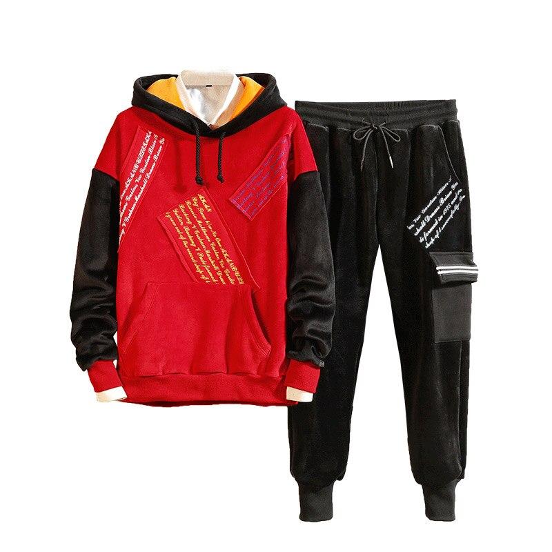 Loldeal Hip hop or velours mouvement chaud Sport costume hommes fourrure Hoodies épais deux pièces ensemble survêtement pour le Sport