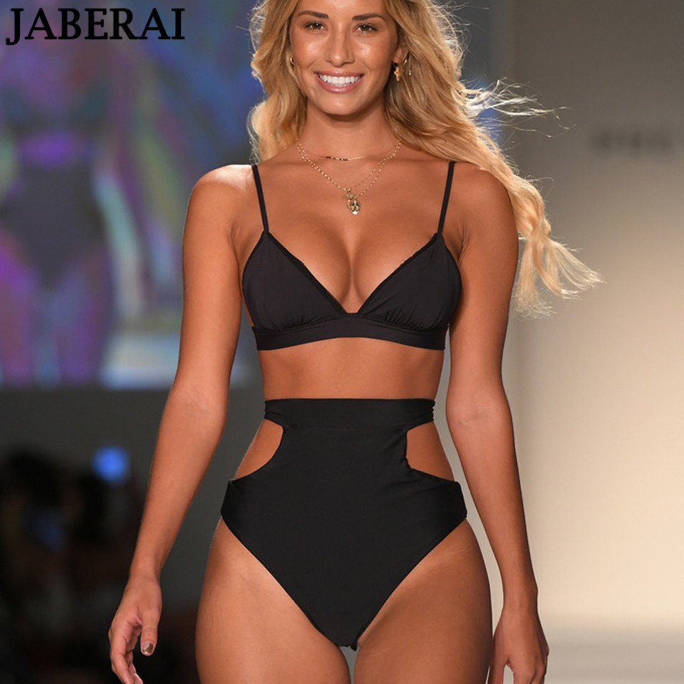 JABERAI Retro Cut Out High Waist swimwear women push up swimsuit Bandage Bikini set black solid bathing suits Swimwear beachwear push up swimsuit high waist bikini set padded bathing suits women black beachwear large size swimwear female xl xxl xxxl plavky