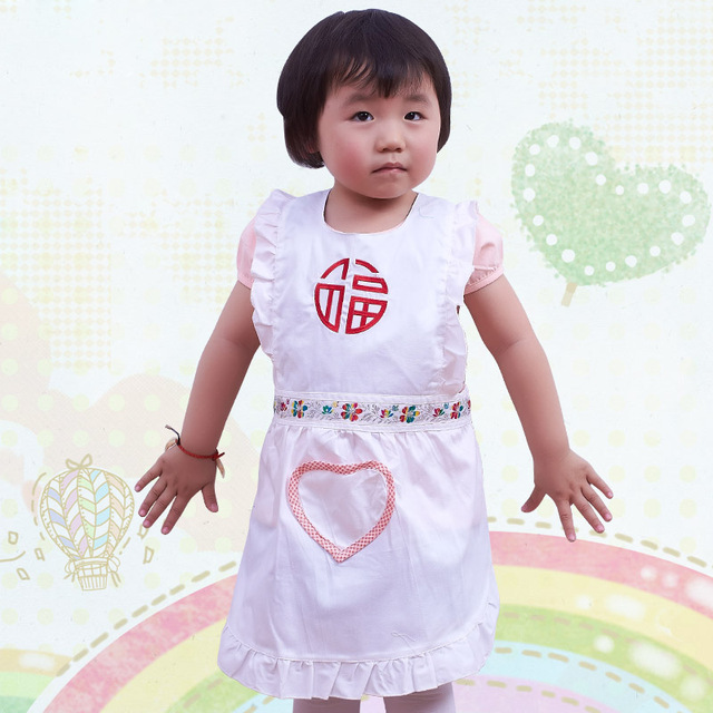 New Girl Kid Apron Cute White Cotton Embroidered Apron Baby Clothes