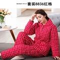 Nuevo Otoño Mujeres Pijama de Invierno juventud Grupos de Botones de Manga Larga de Las Mujeres ropa de Dormir Pijamas Niñas Mujer Pijama Plus Size envío gratis