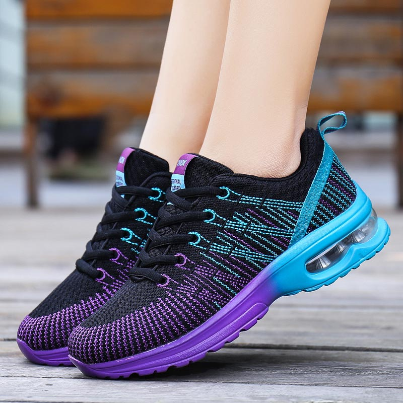 Women sneaker outdoor breathable comfortable couple shoes woman 2018 lightweight athletic mesh gradient women casual shoes mesh letter pattern athletic shoes