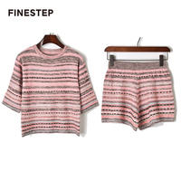 Two Piece Knitted Set 2018 High Quality Women 2 Piece Set Top and Shorts Stripe 2 Piece Set Women