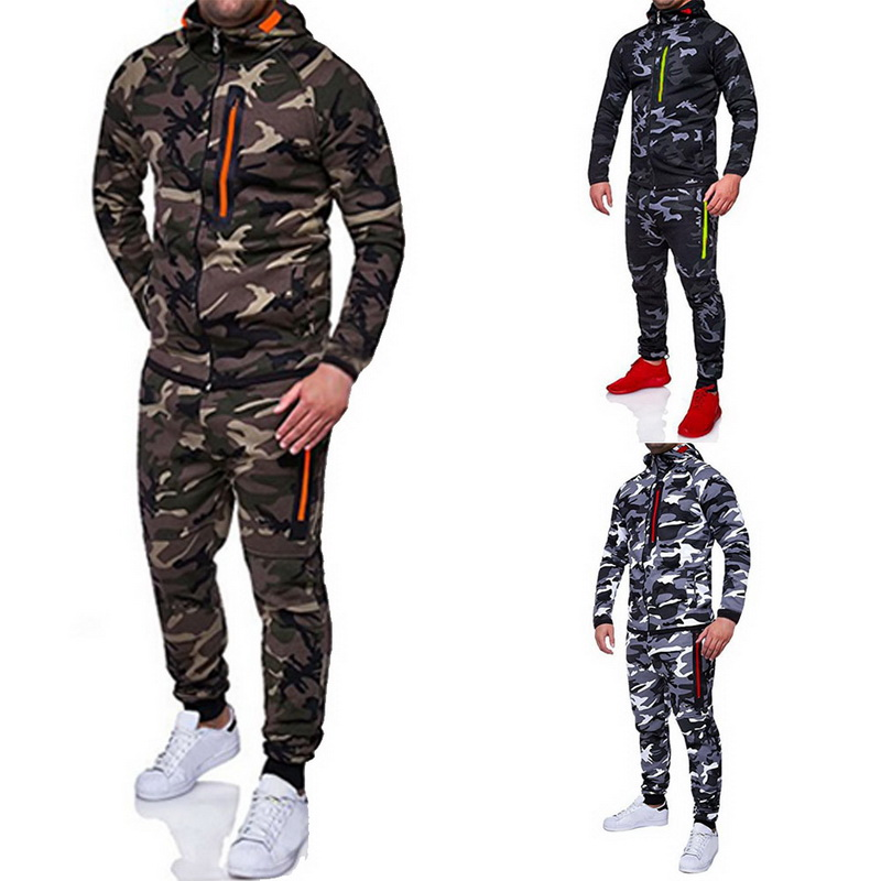 Laamei 2019 Men Fashion Camouflage Jackets+Pants Set Male Tracksuit Outdoors Suit Men's Gyms Suit Set Casual Sportswear