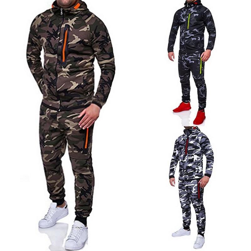 Laamei 2019 Men Fashion Camouflage Jackets+Pants Set Male Tracksuit Outdoors Suit Men's Gyms Suit Set Casual Sportswear