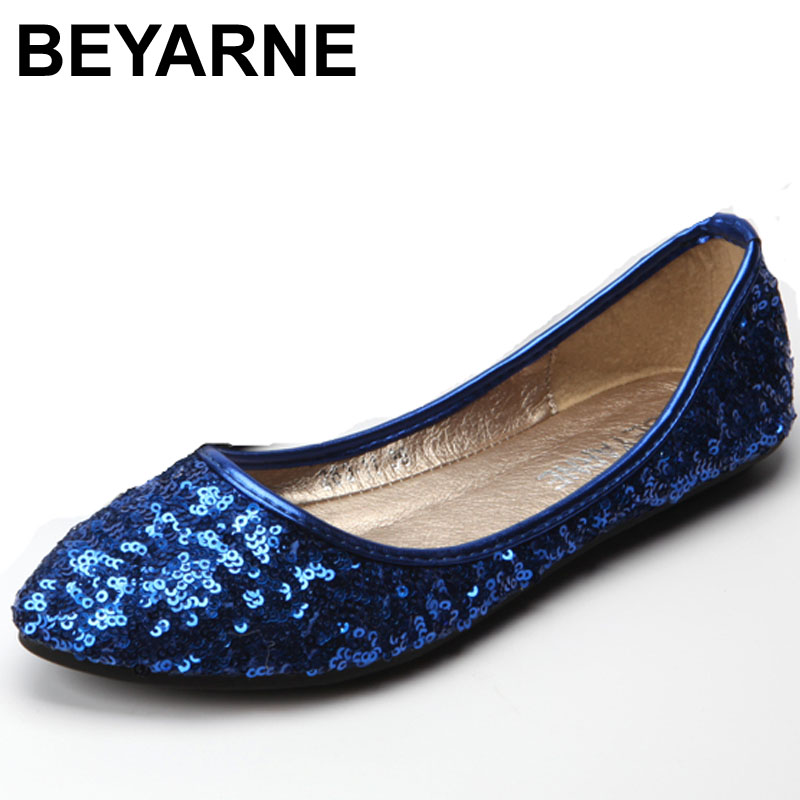 BEYARNE HOT SALE! Free Shipping Flash sequins pointed toe flat shoes comfortable all-match women flats Size:35-41 fashion women shoes woman flats high quality comfortable pointed toe rubber women sweet flats hot sale shoes size 35 40