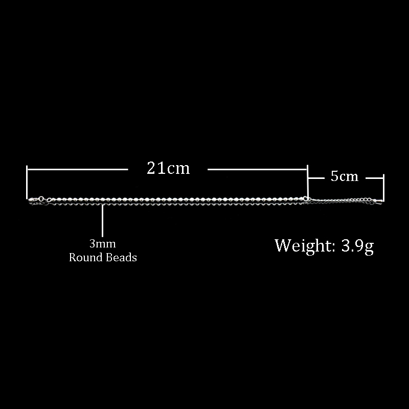 New Classic Simple Small Round Ball Bead Anklets Foot Chain For 925 Sterling Silver Ladies Foot Anklet Bracelet Women Jewelry 4