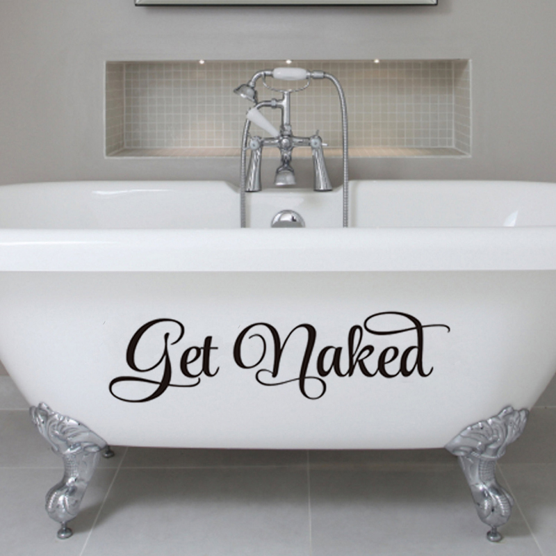 DCTOP Get Naked Bathroom Wall Decal Wall Sticker Vinyl Toliet Living Room Home Decor Decals Poster Wallpaper Wall Arts