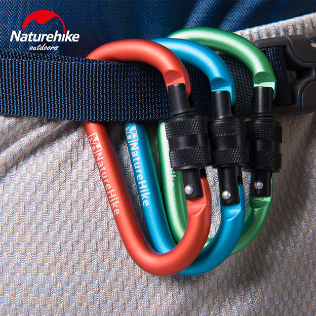 Natureike Aluminum Carabiner D Shape Buckle Pack Keychain Clip Spring Snap Key Chain Clip Hook Screw Gate Buckle Carabiners