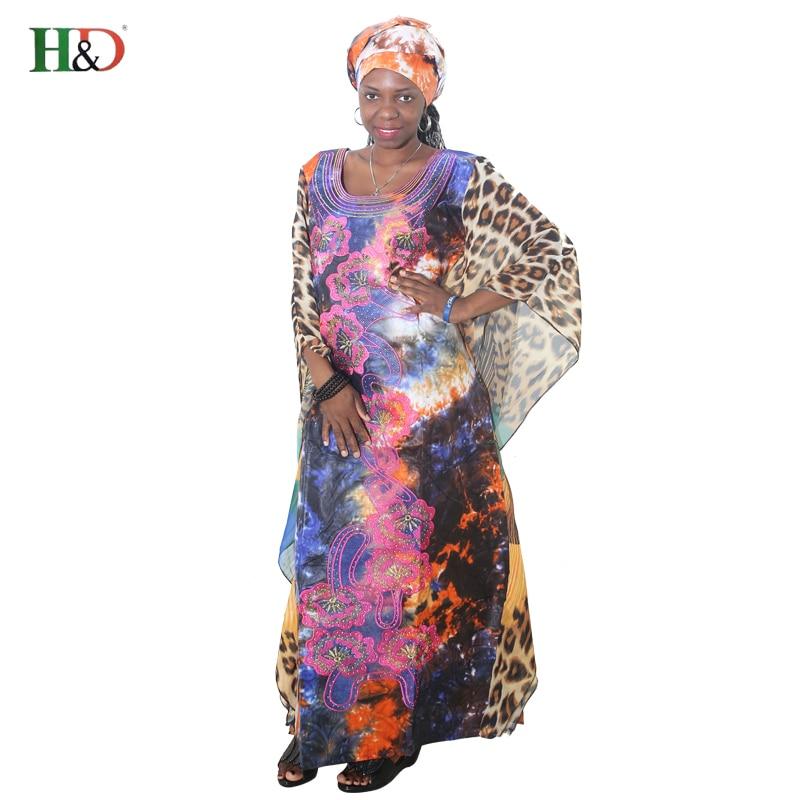 H&D AFRICAN CHIFFON ROBE Lady Dress African Women bat Sleeves leopard Print embroidery Dress Africa Riche Bazin Plus Size