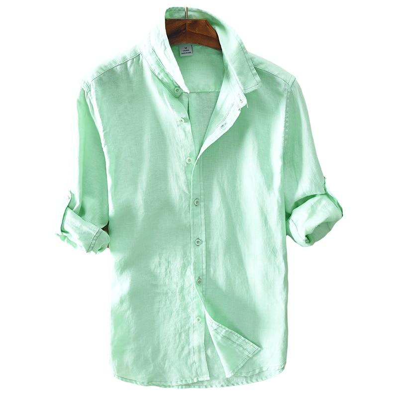2017 Nueva llegada camisa de lino hombres sólido verde camisa larga para hombre 100% lino camisas de los hombres ocasionales de la marca camisas suaves ropa masculina chemise