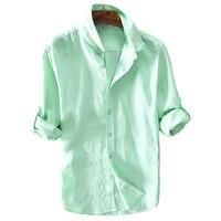 2017 New Arrival Linen Shirt Men Solid Green Long Shirt Mens 100 Flax Casual Men Shirts